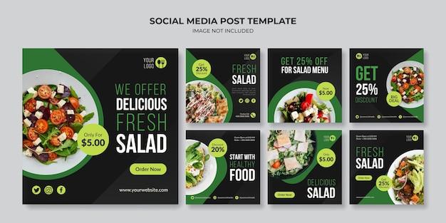 Modèle de publication instagram sur les médias sociaux de salade fraîche