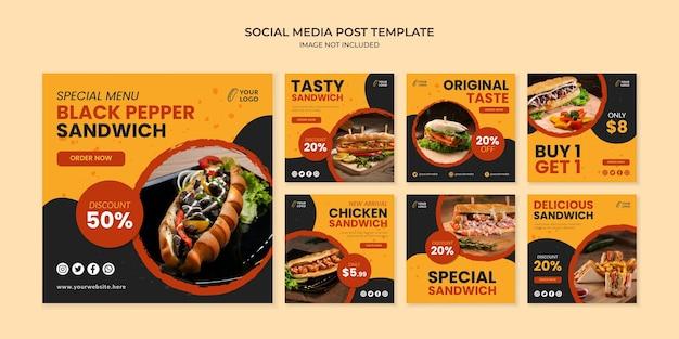 Modèle de publication instagram sur les médias sociaux sandwich au poivre noir