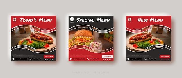 Modèle de publication instagram sur les médias sociaux de vente de nourriture