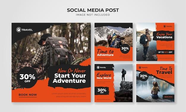 Modèle de publication instagram sur les médias sociaux de voyage d'aventure