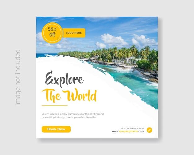 Le modèle de publication instagram de médias sociaux de voyage définit la bannière d'annonces marketing carré du tourisme vecteur premium