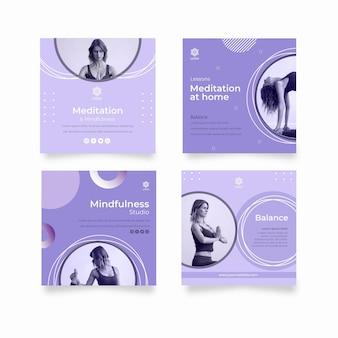 Modèle de publication instagram de méditation et de pleine conscience