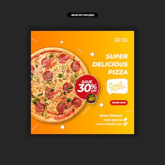 Modèle de publication instagram de menu de pizza ou de restauration rapide