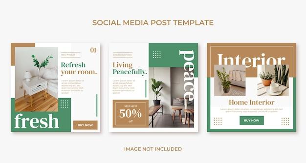 Modèle de publication instagram de meubles d'intérieur de maison plat