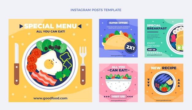 Modèle De Publication Instagram De Nourriture Plate Vecteur Premium