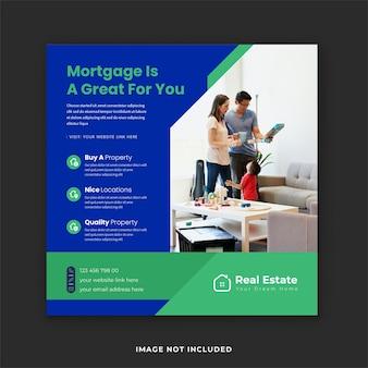 Modèle de publication instagram pour l'achat et la vente de biens immobiliers pour services hypothécaires