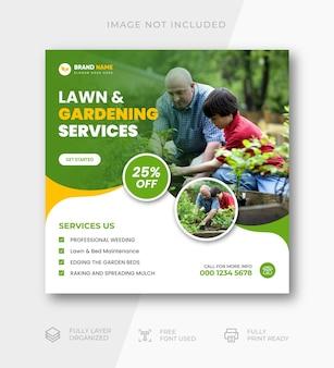 Modèle de publication instagram pour l'entretien des pelouses et le jardin
