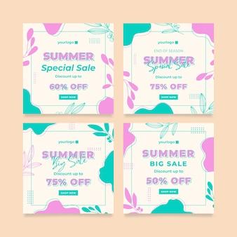 Modèle de publication instagram de promotion d'été