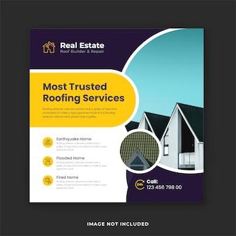 Modèle de publication instagram promotionnelle d'experts en services de toiture