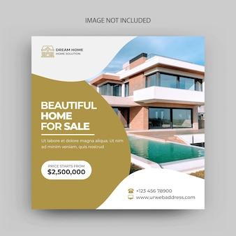 Modèle de publication instagram de publication sur les médias sociaux immobiliers