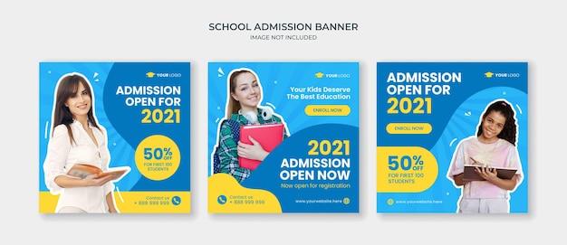 Modèle de publication instagram sur les réseaux sociaux d'admission à l'école