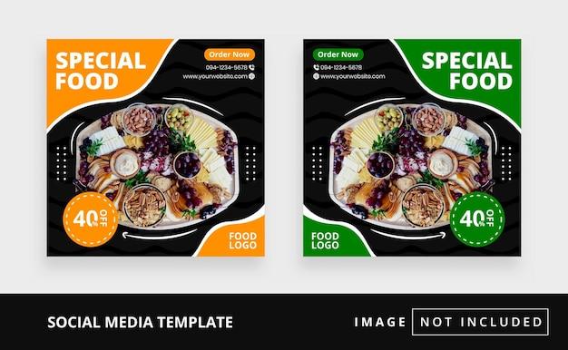Modèle de publication instagram sur les réseaux sociaux alimentaires