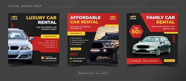 Modèle de publication instagram sur les réseaux sociaux de location de voitures abordables