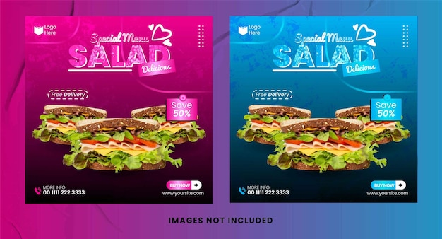 Modèle de publication instagram avec une salade saine et un vecteur de conception d'aliments biologiques