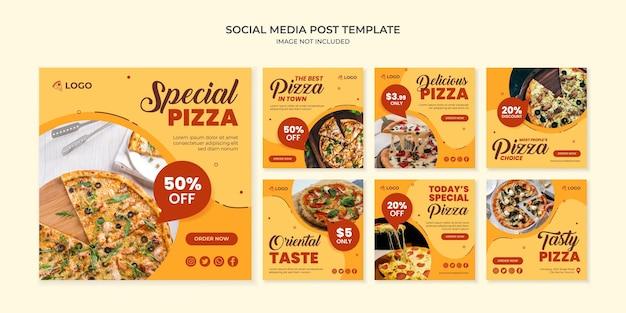Modèle de publication instagram spécial pizza sur les médias sociaux