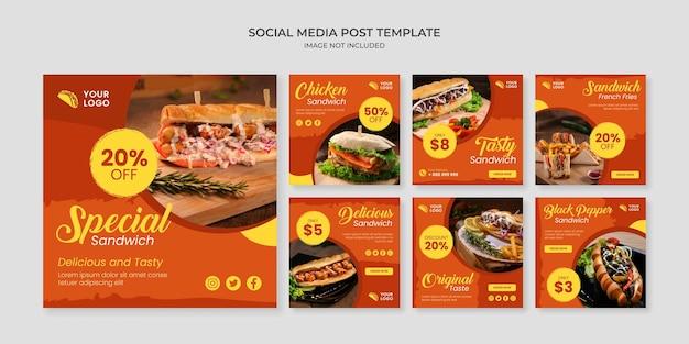 Modèle de publication instagram spécial sandwich sur les médias sociaux
