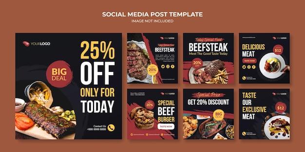 Modèle de publication instagram de steak de boeuf pour le restaurant et le café