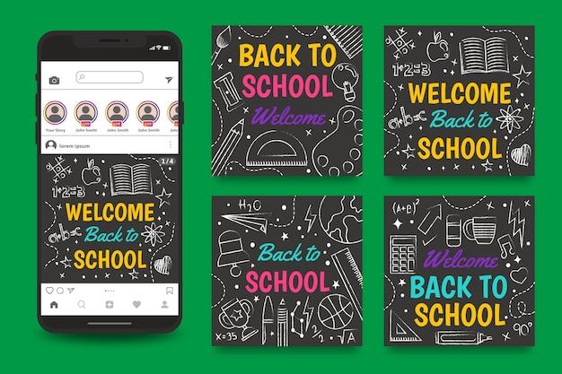 Modèle de publication instagram tableau noir retour à l'école