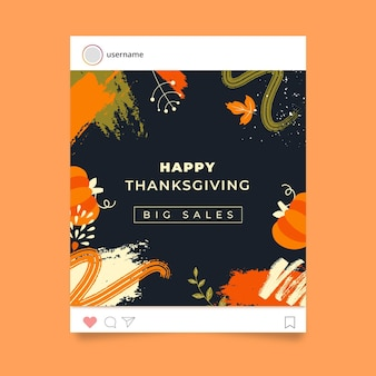Modèle de publication instagram de thanksgiving