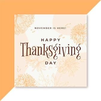 Modèle de publication instagram de thanksgiving