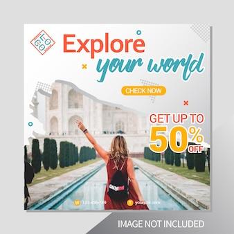Modèle de publication instagram de vacances de voyage