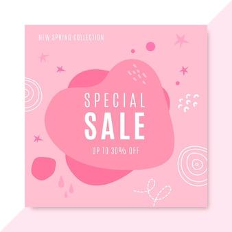 Modèle de publication instagram de ventes monocolor dessiné à la main