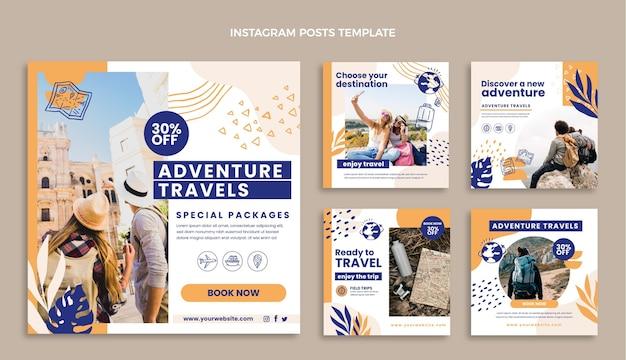Modèle de publication instagram de voyage plat