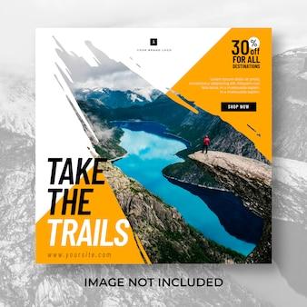 Modèle de publication instagram de voyage de randonnée