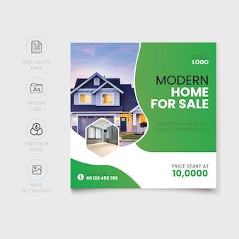 Modèle de publication de maison moderne à vendre sur les réseaux sociaux