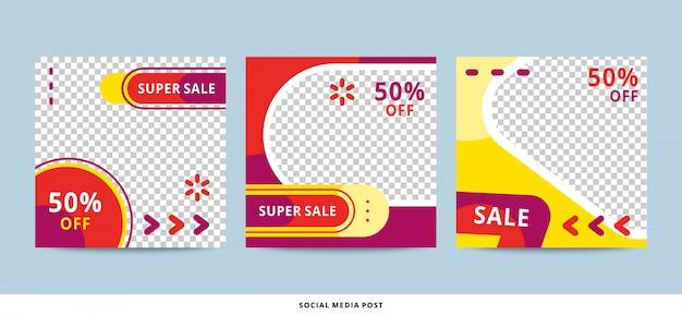 Modèle de publication de média social modifiable avec un style de forme moderne