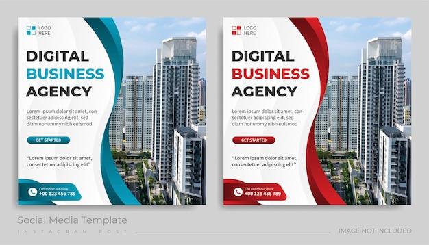 Modèle de publication sur les médias sociaux de l'agence de commerce numérique