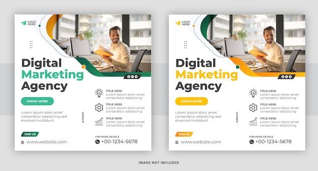 Modèle de publication sur les médias sociaux d'une agence de marketing numérique créative