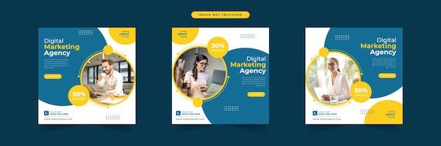 Modèle de publication sur les médias sociaux de l'agence de marketing numérique
