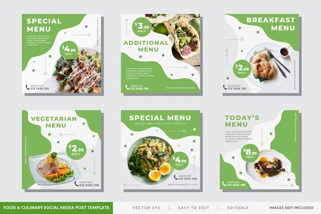 Modèle de publication sur les médias sociaux alimentaires et culinaires