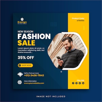 Modèle de publication de médias sociaux bannière carrée instagram vente de mode