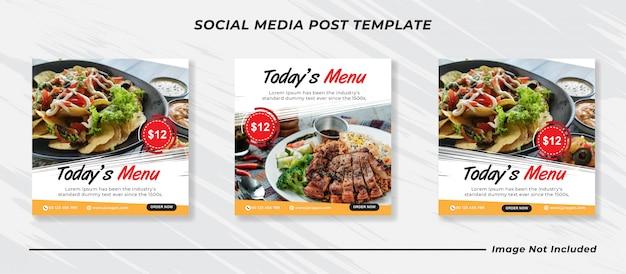 Modèle de publication de médias sociaux bannière menu alimentaire.