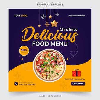 Modèle de publication sur les médias sociaux de bannière de menu de nourriture de noël modifiable pour la promotion