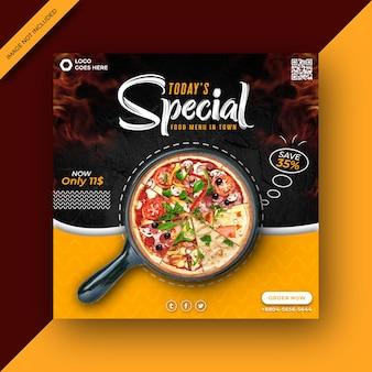 Modèle de publication sur les médias sociaux carré promotionnel de délicieuses pizzas et menus alimentaires