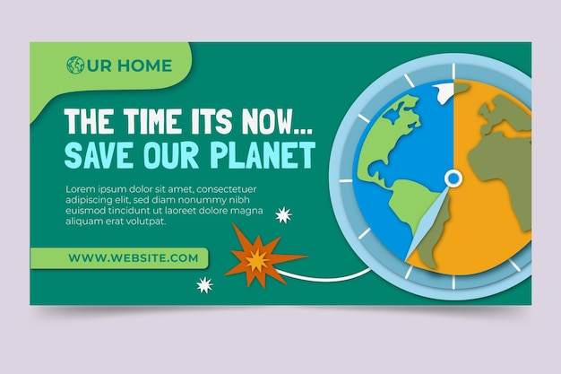 Modèle de publication sur les médias sociaux sur le changement climatique de style papier