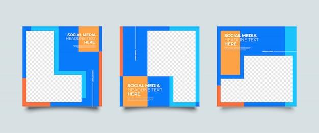 Modèle de publication de médias sociaux coloré