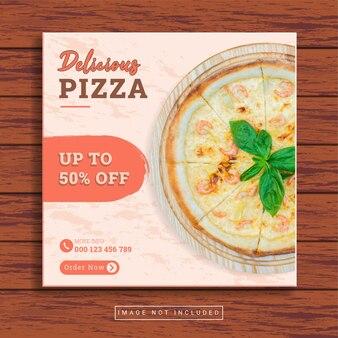 Modèle de publication sur les médias sociaux culinaires délicieux de pizza et restaurant