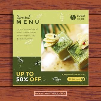 Modèle de publication sur les médias sociaux culinaires de nourriture et de restaurant