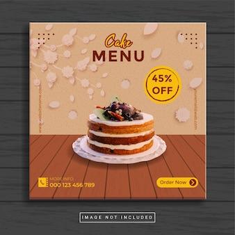 Modèle de publication sur les médias sociaux culinaires pour gâteaux et restaurants