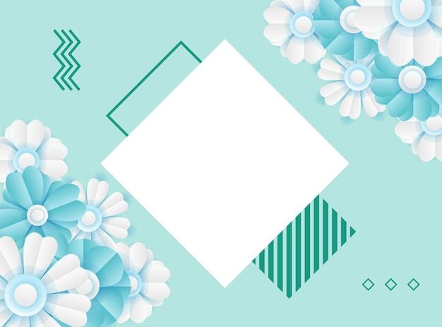 Modèle de publication sur les médias sociaux avec décoration de fleurs bleues fraîches coupées en papier. modèle de publication instagram dynamique moderne