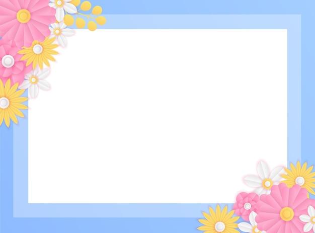 Modèle De Publication Sur Les Médias Sociaux Avec Décoration De Fleurs Bleues Fraîches Coupées En Papier. Modèle De Publication Instagram Dynamique Moderne Vecteur Premium