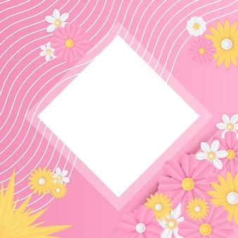 Modèle De Publication Sur Les Médias Sociaux Avec Décoration De Fleurs Roses Fraîches Coupées En Papier. Modèle De Publication Instagram Dynamique Moderne Vecteur Premium
