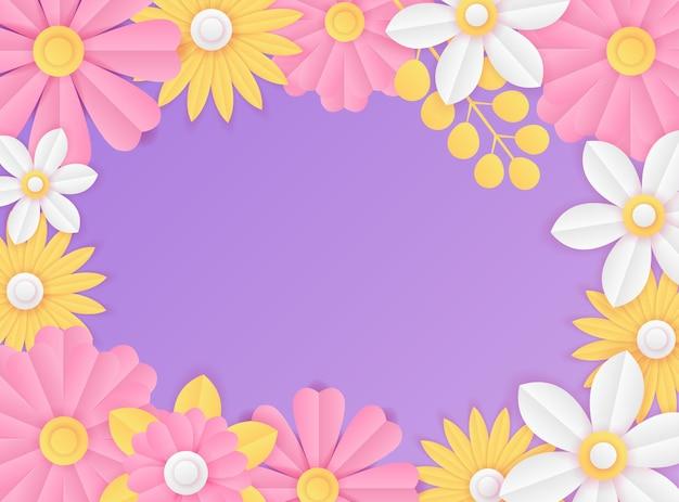 Modèle de publication sur les médias sociaux avec décoration de fleurs violettes fraîches coupées en papier. modèle de publication instagram dynamique moderne