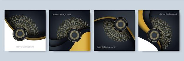 Modèle de publication de médias sociaux avec décoration islamique de motif de mandala. conception de publication de médias sociaux de luxe pour la vente du ramadan avec motif doré, formes et mandala