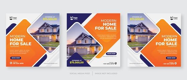 Modèle de publication de médias sociaux à domicile immobilier