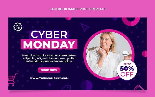 Modèle de publication sur les médias sociaux du cyber lundi à plat